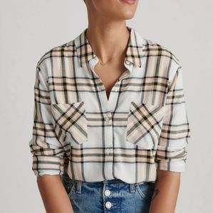 Lucky Brand Peach Plaid Button Down Top Size Large